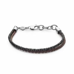 Bracelet Homme FOSSIL Heritage Cuir Marron et Hématites