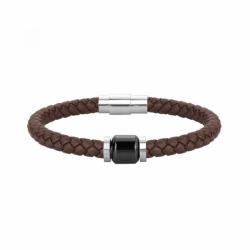Bracelet Homme Cuir Phebus Acier et Céramique Noir