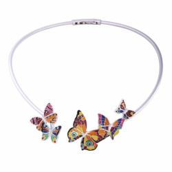 Collier Femme Papillon UNA STORIA ARGENT 925/1000 Laqué Multicolore et Oxydes