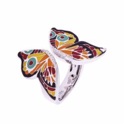 Bague Femme Papillon UNA STORIA ARGENT 925/1000 Laqué Multicolore et Oxydes
