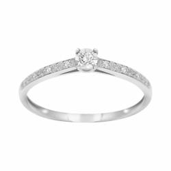 Bague Femme Solitaire EDORA OR 375/1000 Blanc et Diamants