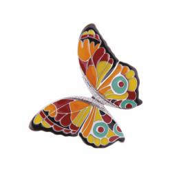 Collier Pendentif Papillon UNA STORIA ARGENT 925/1000 Laqué Multicolore et Oxydes