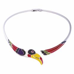 Collier Femme Toucan UNA STORIA ARGENT 925/1000 Laqué Multicolore et Oxydes