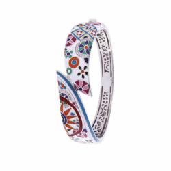Bracelet Femme Jonc Pashmina UNA STORIA ARGENT 925/1000 Laqué Multicolore et Oxydes