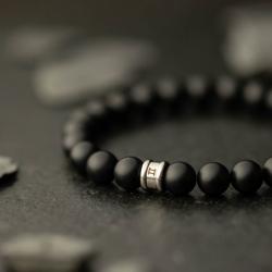 Bracelet homme GEMINI ALPHA agate noir mat M