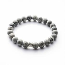 Bracelet homme GEMINI BASIC jaspe gris mat XS
