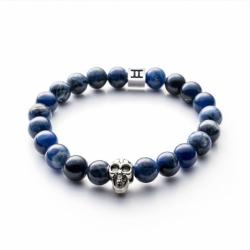 Bracelet homme GEMINI CLASSIC SKULL sodalite bleu M