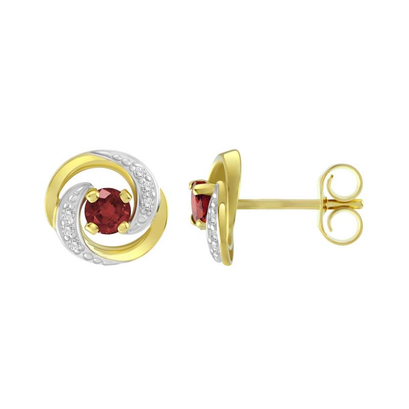 Boucles d'Oreilles Femme Puces OR 375/1000 Bicolore et Rubis