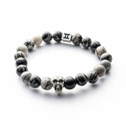 Bracelet homme GEMINI CLASSIC SKULL jaspe gris L