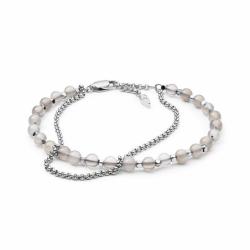 Bracelet Femme Fossil double chaîne argenté