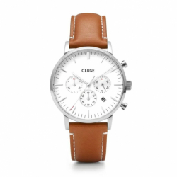 Montre Homme Cluse Aravis chrono leather silver