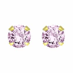 Boucles d'Oreilles Puces OR 750/1000 Jaune et Oxyde rose