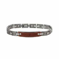 Bracelet Homme MASERATI Acier et Cuir Brun