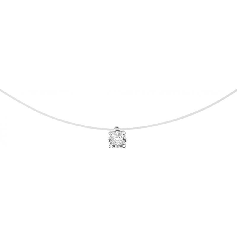 Collier Femme Câble Nylon et Or 375/1000 Blanc et Diamants