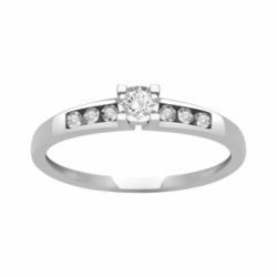 Bague Femme Solitaire Accompagné OR 750/1000 Blanc et Diamants