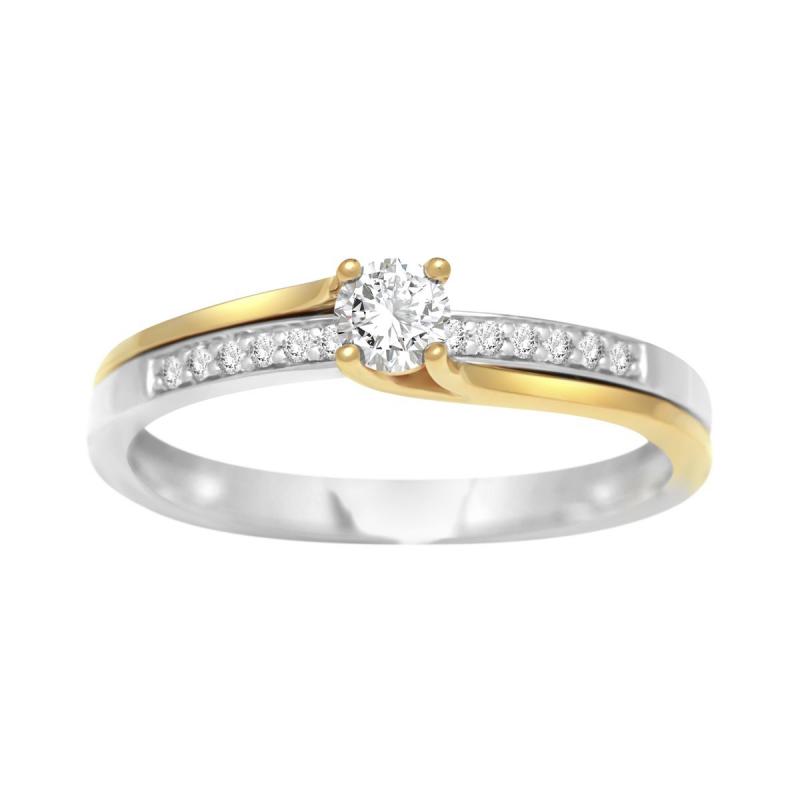 Bague Femme Solitaire Accompagné OR 750/1000 Bicolore et Diamants