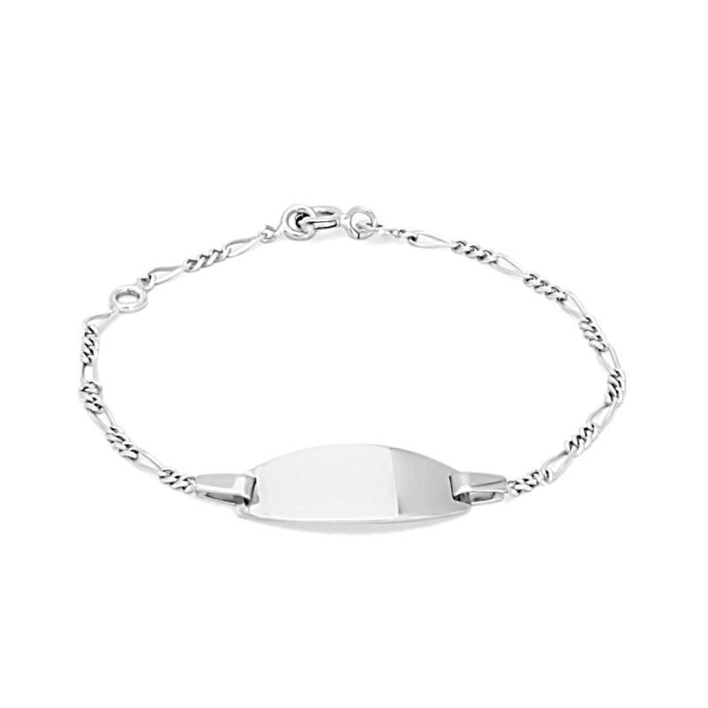 Bracelet Enfant Gourmette Bébé OR 375/1000 Blanc