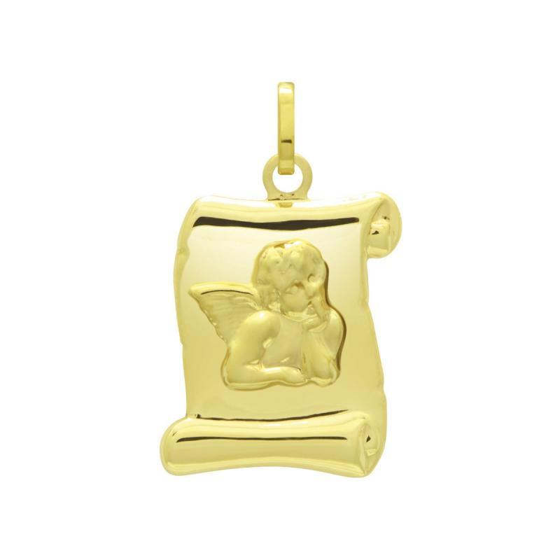 Médaille Parchemin Ange OR 750/1000 Jaune