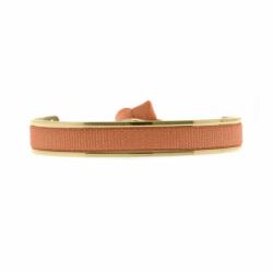 Bracelet Femme Jonc Ruban INTERCHANGEABLE Métal Doré et Satin Orange
