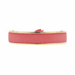 Bracelet Femme Jonc Ruban INTERCHANGEABLE Métal Doré et Satin Rouge