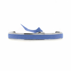 Bracelet Femme Jonc Ruban INTERCHANGEABLE Métal Argenté et Satin Bleu