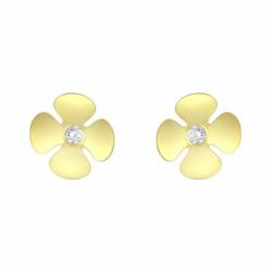 Boucles d'Oreilles Femme Puces Fleurs OR 750/1000 Jaune et Oxydes