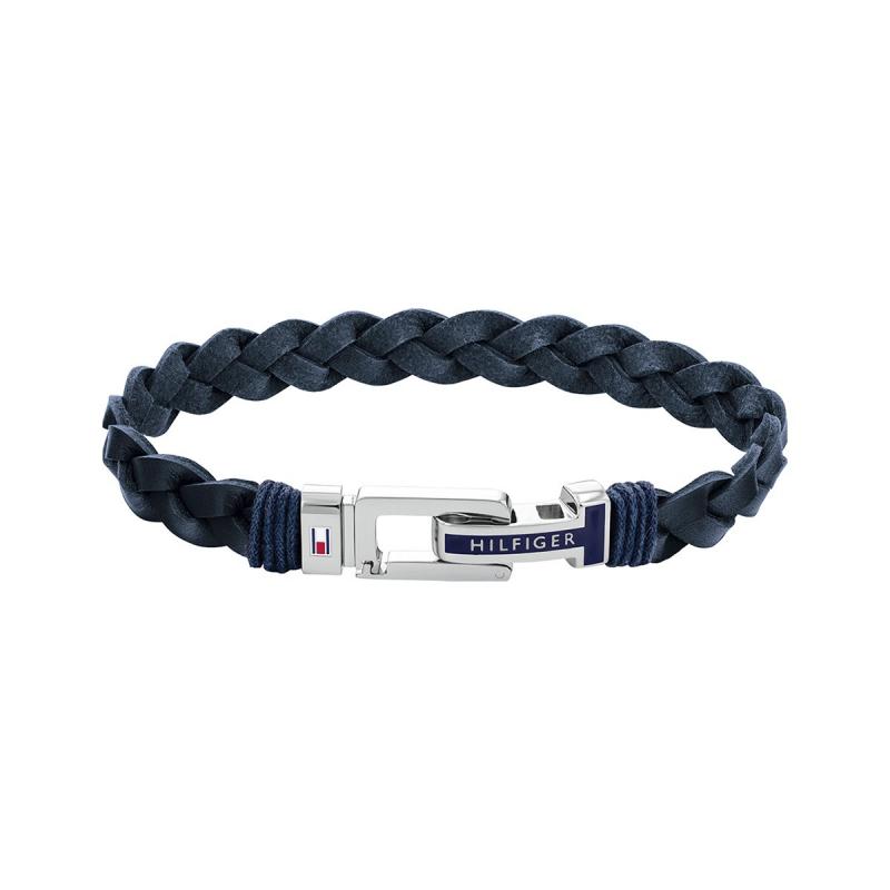Bracelet Homme Tressé TOMMY HILFIGER Acier et Cuir Bleu