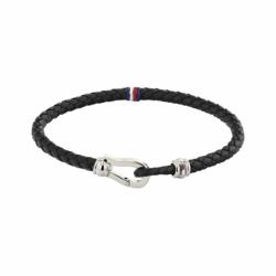 Bracelet Homme Torsadé TOMMY HILFIGER Acier Argenté et Cuir Noir