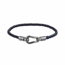 Bracelet Homme TOMMY HILFIGER Cuir Noir et Acier Argenté