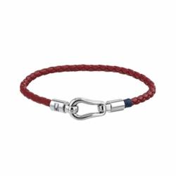 Bracelet Homme TOMMY HILFIGER Cuir Tressé Rouge et Acier Argenté