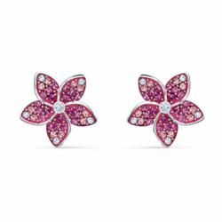 Boucles d'Oreilles Femme Puces SWAROVSKI TROPICAL FLOWER Métal Rhodié et Cristaux