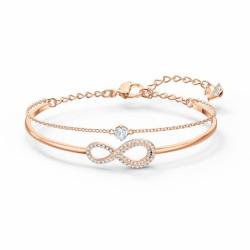 Bracelet Femme Jonc SWAROVSKI INFINITY Métal doré rose et Cristaux