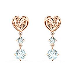 Boucles d'Oreilles Femme Pendantes SWAROVSKI LIFELONG HEART Métal doré rose et Cristaux