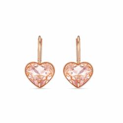 Boucles d'Oreilles Femme Dormeuses SWAROVSKI BELLA HEART Métal doré rose et Cristaux