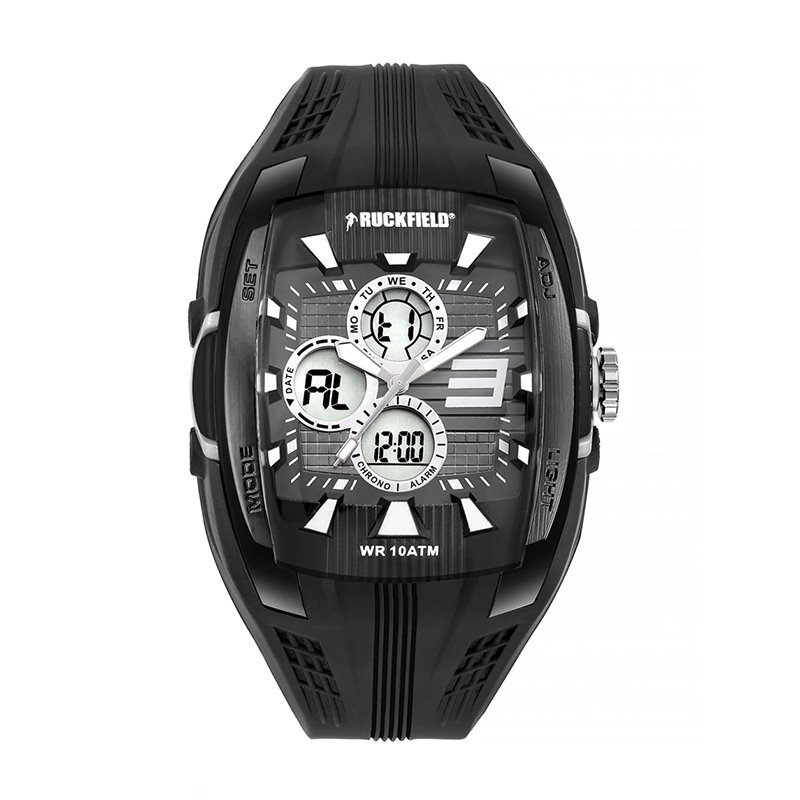 Montre Homme Ana-digital Ruckfield Multifonction Silicone Noir