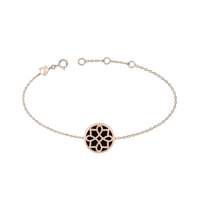 Bracelet Femme Lore OR 375/1000 Rose Laqué Noir
