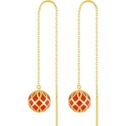 Boucles d'Oreilles Femme Pendantes Lore OR 375/1000 Jaune Laqué Rouge Corail