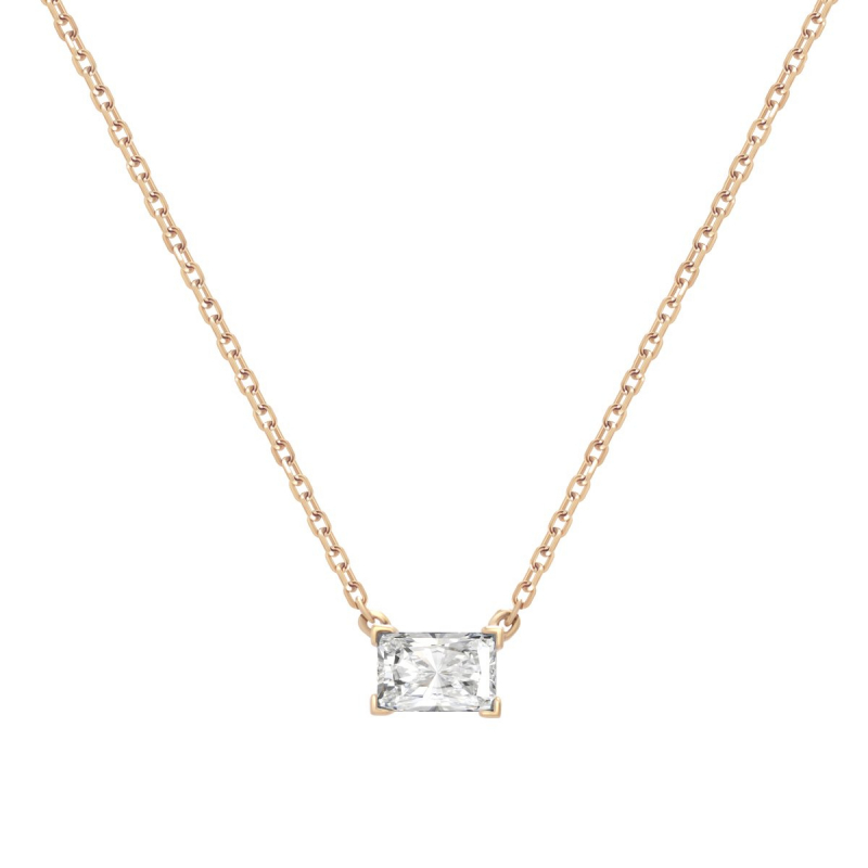 Collier Femme Solitaire OR 375/1000 Rose et Oxyde