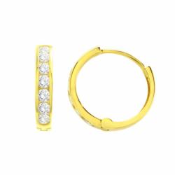 Boucles d'oreilles Femme Créoles OR 375/1000 Jaune et Oxydes