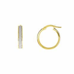 Boucles d'Oreilles Femme Créoles OR 375/1000 Jaune et Glitter