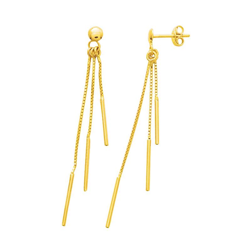 Boucles d'Oreilles Femme Pendantes OR 375/1000 Jaune