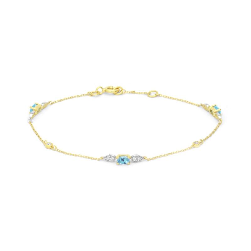 Bracelet Femme OR 375/1000 Topazes et Oxydes