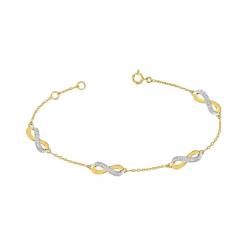 Bracelet Femme Infini OR 375/1000 Bicolore et Diamants