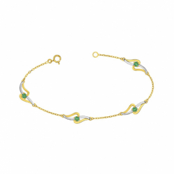Bracelet Femme OR 375/1000 Bicolore et Emeraudes