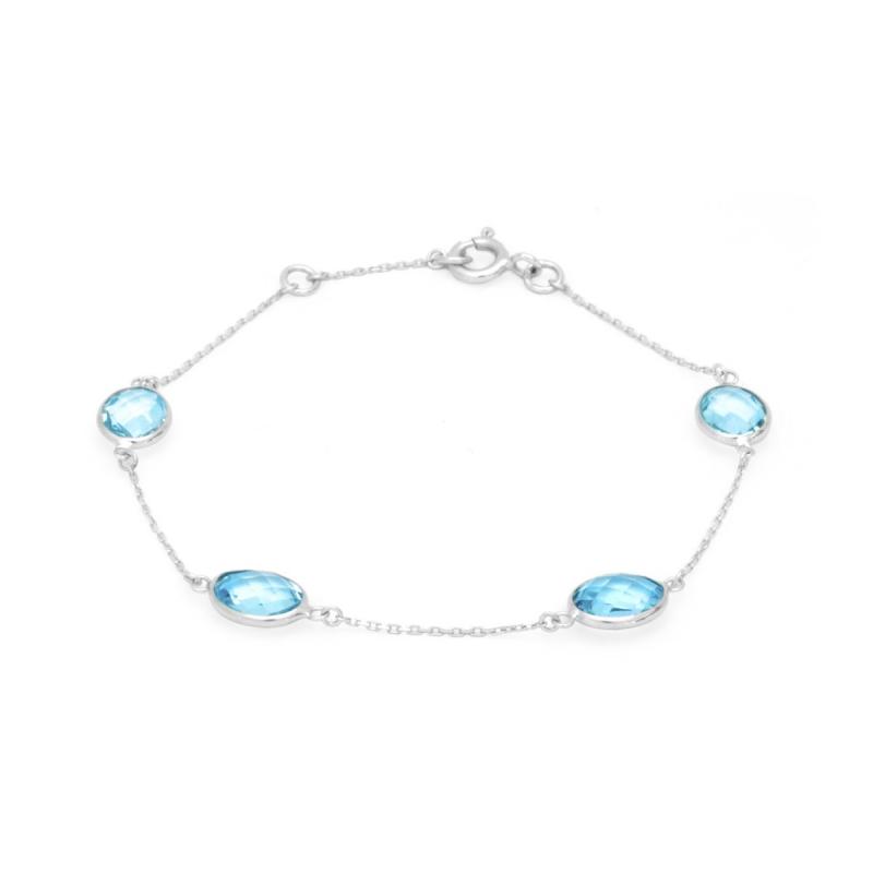 Bracelet Femme OR 375/1000 Blanc et Topazes