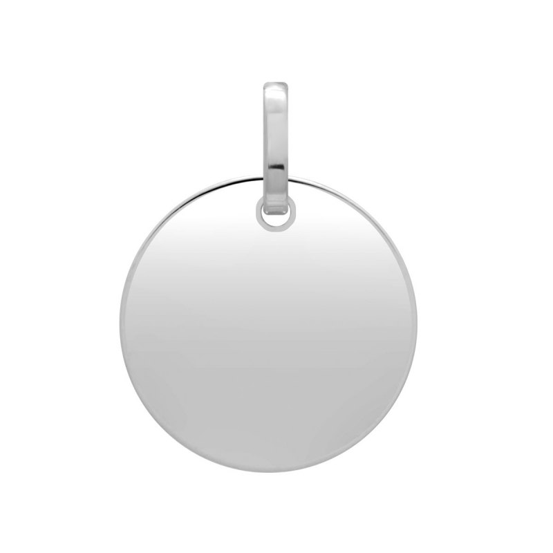 Médaille Plaque Ronde OR 375/1000 Blanc