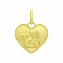 Médaille Ange Coeur OR 375/1000 Jaune