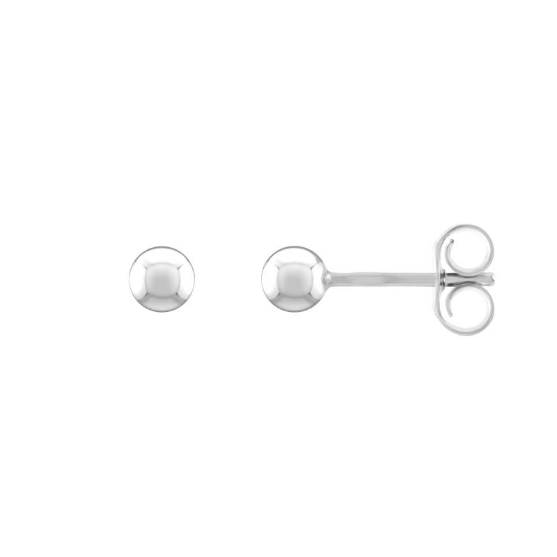 Boucles d'Oreilles Femme Puces Boules OR 375/1000 Blanc