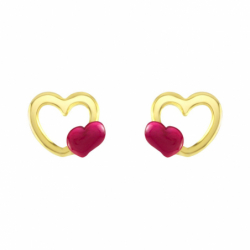 Boucles d'Oreilles Enfant Puces Coeurs OR 375/1000 Jaune