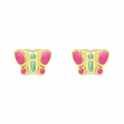 Boucles d'Oreilles Enfant Puces Papillons OR 375/1000 Jaune
